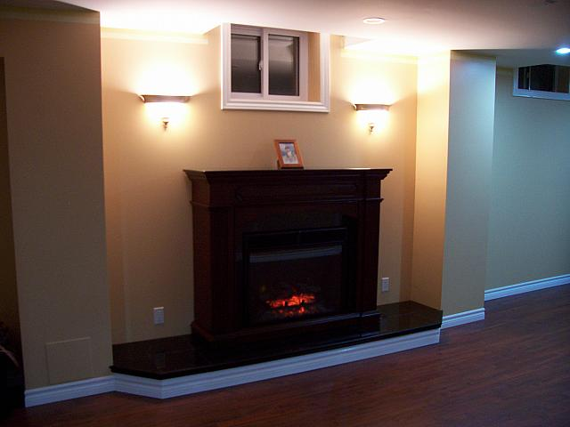 Basement with electric fireplace